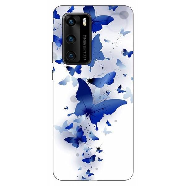 Husa Silicon Soft Upzz Print Compatibila Cu Huawei P40 Model Blue Butterflies imagine itelmobile.ro 2021
