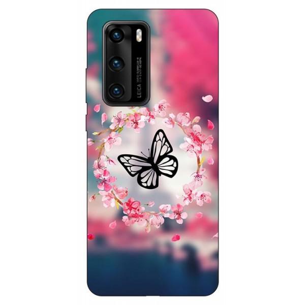 Husa Silicon Soft Upzz Print Compatibila Cu Huawei P40 Model Butterfly imagine itelmobile.ro 2021