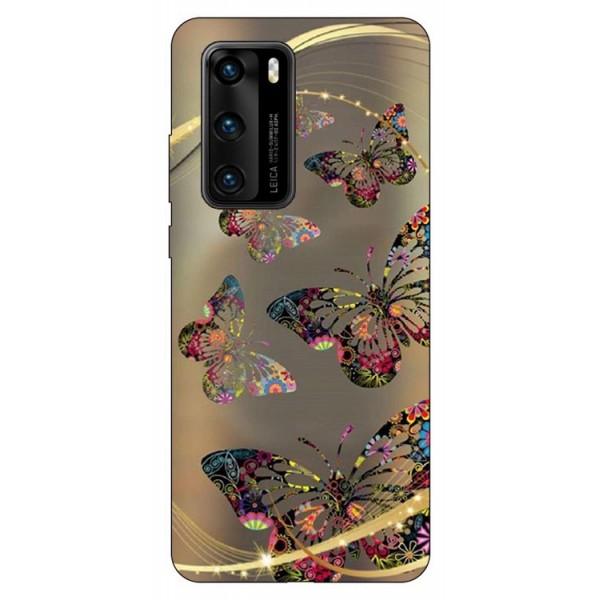 Husa Silicon Soft Upzz Print Compatibila Cu Huawei P40 Model Golden Butterfly imagine itelmobile.ro 2021