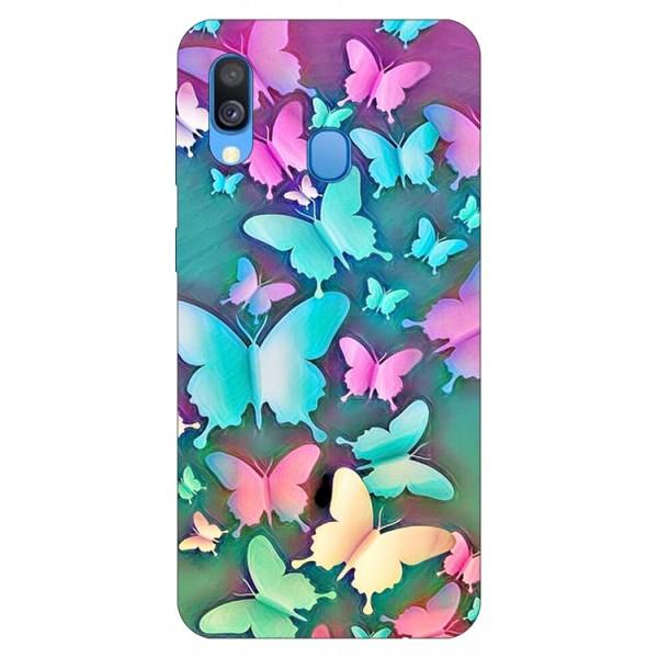 Husa Silicon Soft Upzz Print Compatibila Cu Samsung Galaxy A40 Model Colorfull Butterflies imagine itelmobile.ro 2021