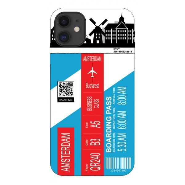 Husa Silicon Soft Upzz Print Travel Compatibila cu Iphone 12 Model Amsterdam imagine itelmobile.ro 2021
