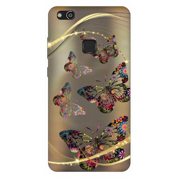 Husa Silicon Soft Upzz Print Compatibila Cu Huawei P10 Lite Model Golden Butterflies imagine itelmobile.ro 2021