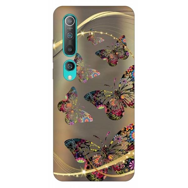 Husa Silicon Soft Upzz Print Compatibila Cu Xiaomi Mi 10 Pro/Mi 10 Model Golden Butterflies imagine itelmobile.ro 2021