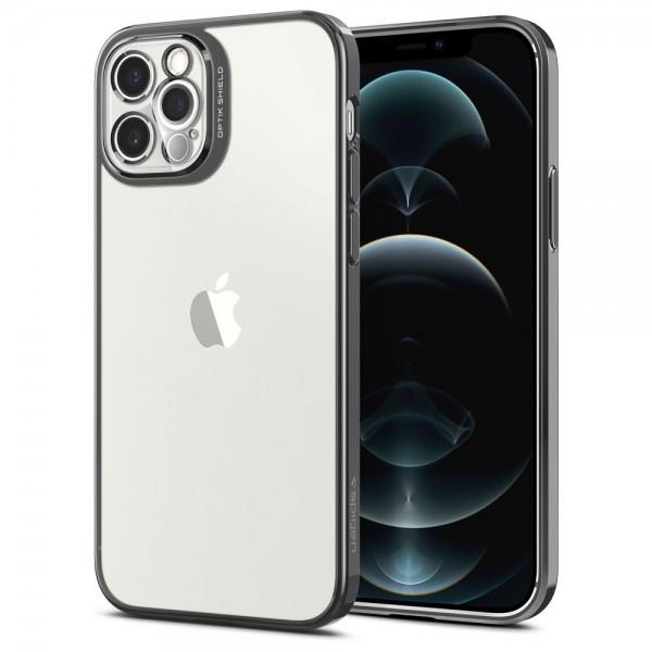 Husa Premium Spigen Optik Crystal Compatibila Cu iPhone 12 Pro, Chrome Gri imagine itelmobile.ro 2021