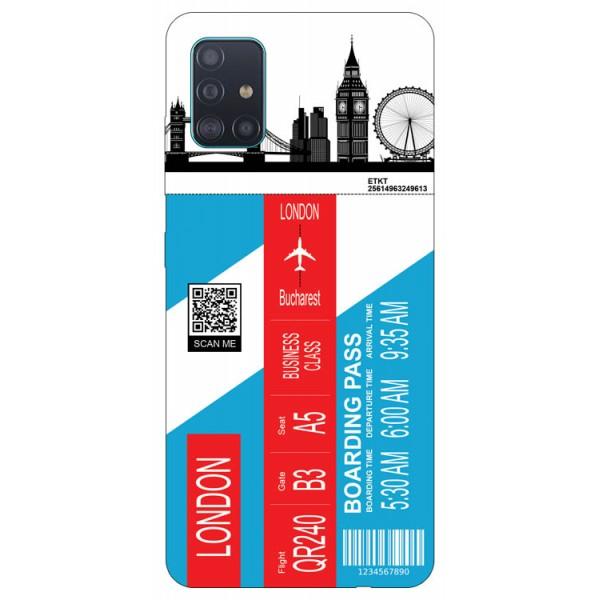 Husa Silicon Soft Upzz Print Travel Compatibila cu Samsung Galaxy A51 Model London imagine itelmobile.ro 2021