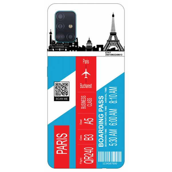 Husa Silicon Soft Upzz Print Travel Compatibila cu Samsung Galaxy A51 Model Paris imagine itelmobile.ro 2021