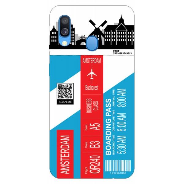 Husa Silicon Soft Upzz Print Travel Compatibila cu Samsung Galaxy A20e Model Amsterdam imagine itelmobile.ro 2021
