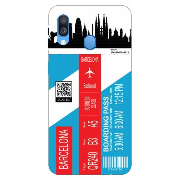 Husa Silicon Soft Upzz Print Travel Compatibila cu Samsung Galaxy A20e Model Barcelona imagine itelmobile.ro 2021