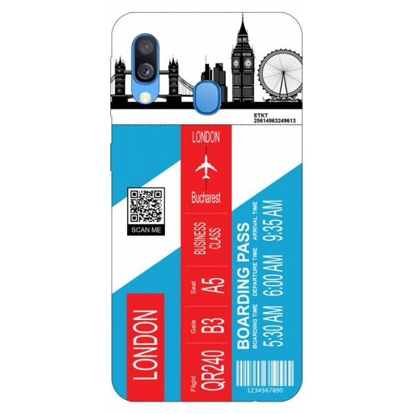 Husa Silicon Soft Upzz Print Travel Compatibila cu Samsung Galaxy A20e Model London imagine itelmobile.ro 2021