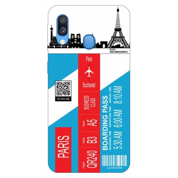 Husa Silicon Soft Upzz Print Travel Compatibila cu Samsung Galaxy A20e Model Paris imagine itelmobile.ro 2021