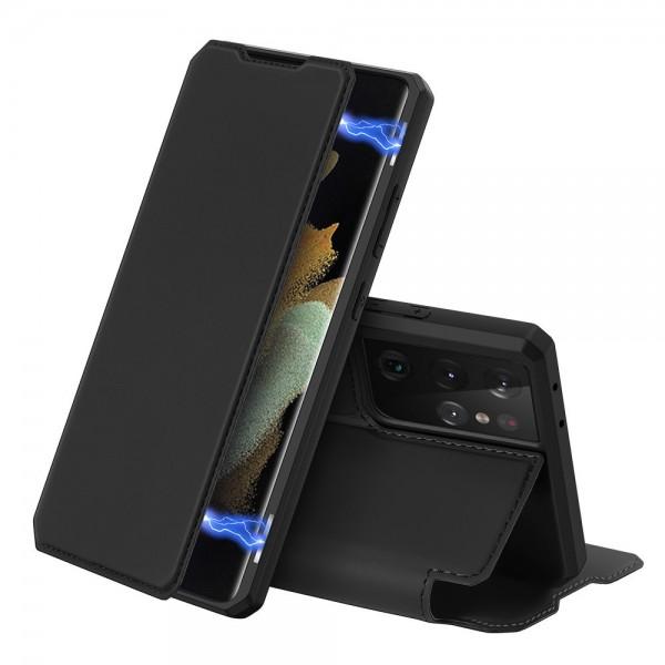 Husa Premium Flip Cover DuxDucis Skin X Compatibila Cu Samsung Galaxy S21 Ultra, Negru imagine itelmobile.ro 2021