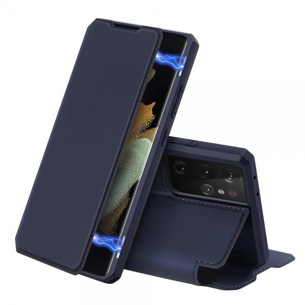 Husa Premium Flip Cover DuxDucis Skin X Compatibila Cu Samsung Galaxy S21 Ultra, Albastru Navy imagine itelmobile.ro 2021