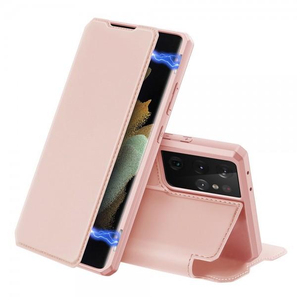 Husa Premium Flip Cover DuxDucis Skin X Compatibila Cu Samsung Galaxy S21 Ultra, Roz imagine itelmobile.ro 2021