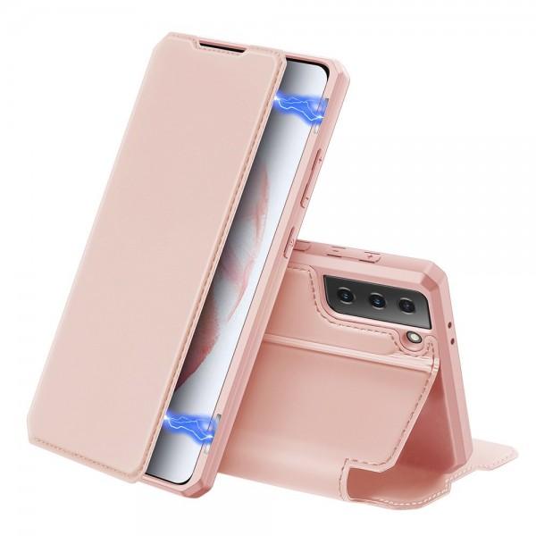Husa Premium Flip Cover DuxDucis Skin X Compatibila Cu Samsung Galaxy S21, Roz imagine itelmobile.ro 2021