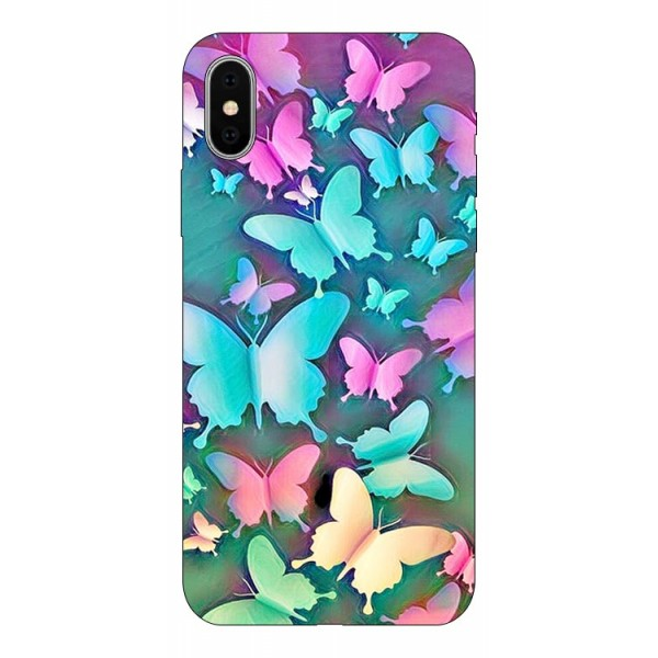 Husa Silicon Soft Upzz Print Compatibila Cu iPhone X/ iPhone Xs Model Coorfull Butterflies imagine itelmobile.ro 2021