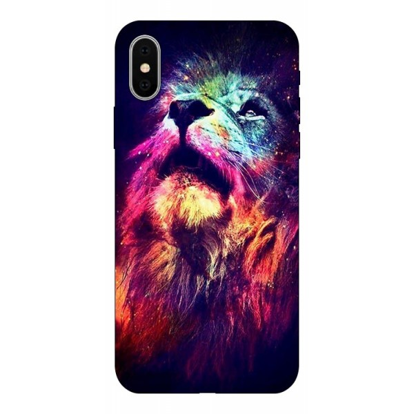 Husa Silicon Soft Upzz Print Compatibila Cu iPhone X/ iPhone Xs Model Neon Lion imagine itelmobile.ro 2021