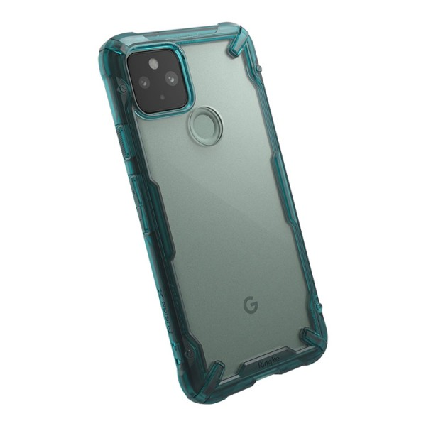 Husa Premium Ringke Fusion X Compatibila Cu Google Pixel 5, Transparenta Cu Margine Verde imagine itelmobile.ro 2021