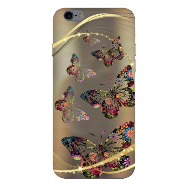 Husa Silicon Soft Upzz Print Compatibila Cu iPhone 6 Plus/ iPhone 6s Plus Model Golden Butterfly imagine itelmobile.ro 2021
