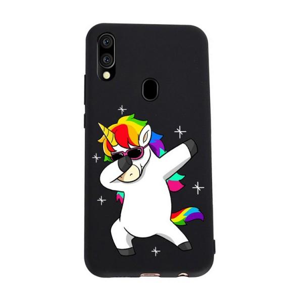 Husa Silicon Soft Upzz Print Candy Compatibila Cu Samsung Galaxy A20e, Model Unicorn Negru imagine itelmobile.ro 2021