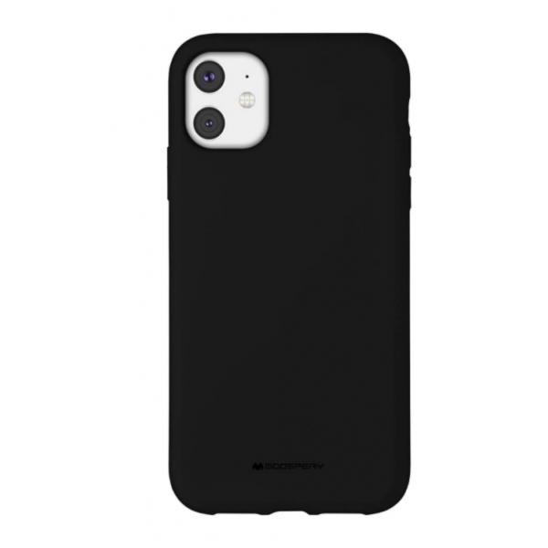 Husa Spate Mercury Goospery Silicone iPhone 11, Interior Alcantara Negru imagine itelmobile.ro 2021