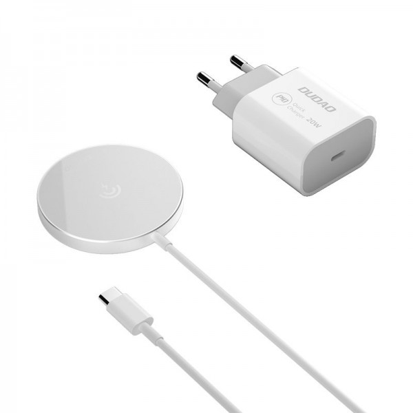 Incarcator Premium Magsafe Dudao Pentru Noile iPhone 12 / 12 Pro / 12 Pro Max, Putere 15w, Adaptor Priza Inclus 20W imagine itelmobile.ro 2021