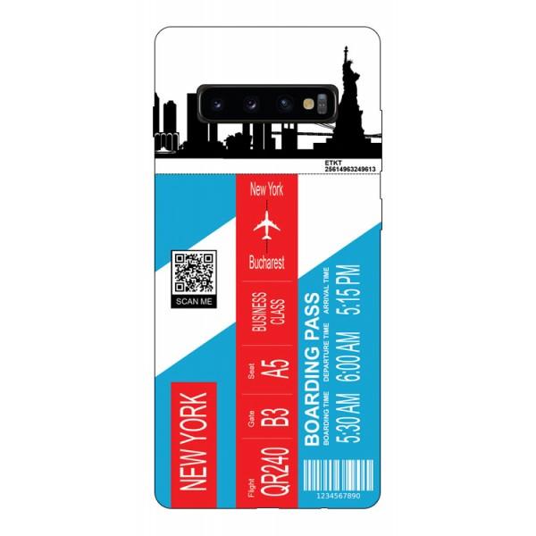 Husa Silicon Soft Upzz Print Travel Compatibila cu Samsung Galaxy S10+ plus Model New York imagine itelmobile.ro 2021