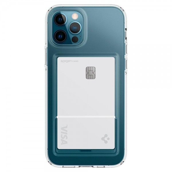 Husa Premium Spigen Liquid Crystal Slot Pentru iPhone 12 / 12 Pro, Slot Pentru Card, Antishock imagine itelmobile.ro 2021