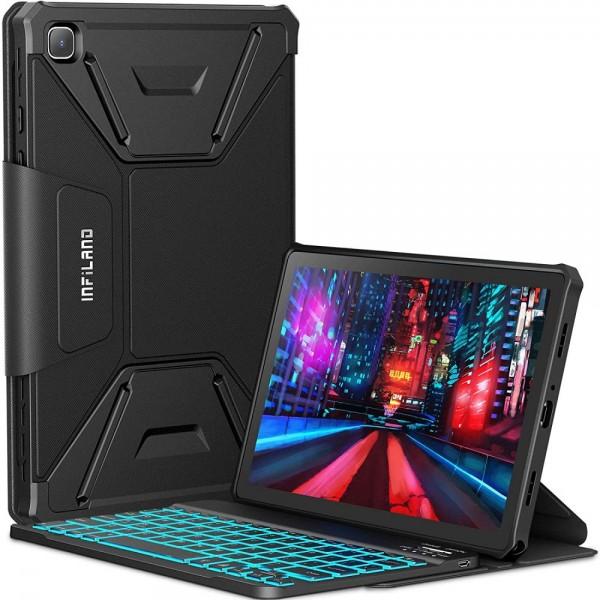 Husa Tableta Infiland Cu Tastatura Bluetooth Pentru Samsung Galaxy Tab A7 10.4inch T500 / T505, Negru imagine itelmobile.ro 2021