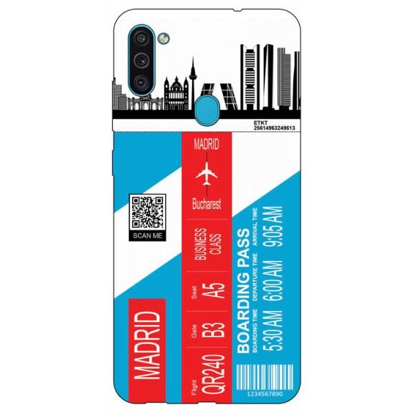 Husa Silicon Soft Upzz Print Travel Compatibila cu Samsung Galaxy A11 Model Madrid imagine itelmobile.ro 2021