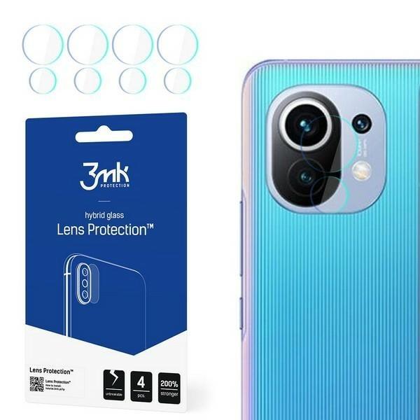 Set 4 Buc Folie Nano Glass Pentru Camera 3mk Xiaomi Mi 11 Lite 5G, Transparenta imagine itelmobile.ro 2021