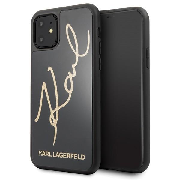 Husa Premium Karl Lagerfeld Compatibila Cu iPhone 11, Signature Glitter Negru Gold imagine itelmobile.ro 2021