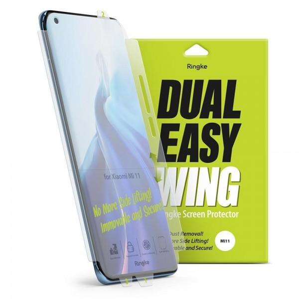 Folie Silicon Premium Ringke Dual Easy Pentru Xiaomi Mi 11, 2 Bucati In Pachet, Transparenta, Silicon imagine itelmobile.ro 2021