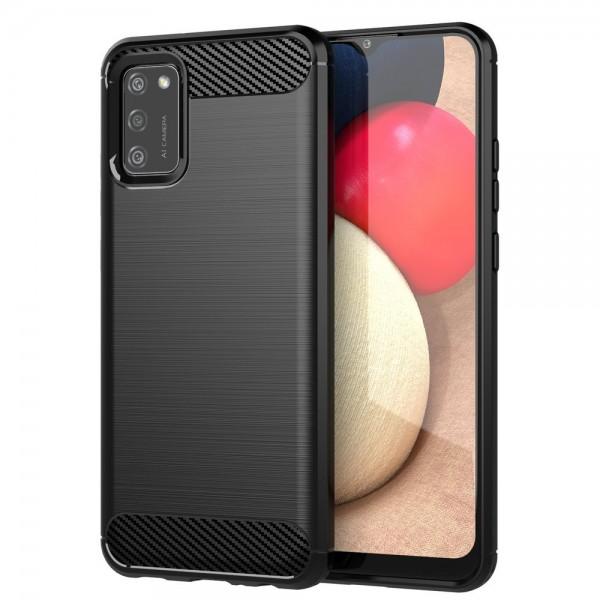 Husa Spate Upzz Carbon Pro Compatibil Cu Samsung Galaxy A02s, Negru imagine itelmobile.ro 2021