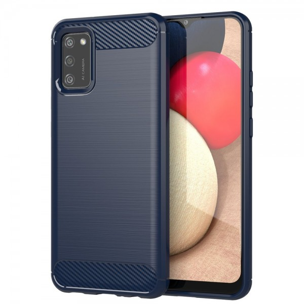 Husa Spate Upzz Carbon Pro Compatibil Cu Samsung Galaxy A02s, Albastru imagine itelmobile.ro 2021
