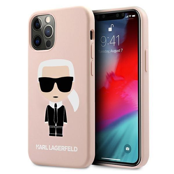 Husa Premium Karl Lagerfeld iPhone 12 Pro Max, Colectia Silicone Iconic, Roz - KLHCP12LSLFKPI imagine itelmobile.ro 2021