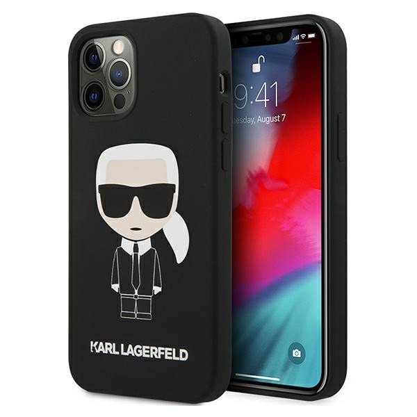 Husa Premium Karl Lagerfeld iPhone 12 / 12 Pro, Colectia Silicone Iconic, Negru - KLHCP12MSLFKBK imagine itelmobile.ro 2021