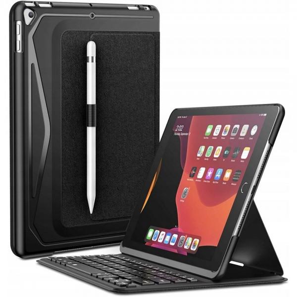 Husa Premium Infiland Cu Tastatura si Bluetooth, Suport Pentru Pen Compatibila Cu iPad 7 / 8 10.2inch 2019 / 2020, Negru imagine itelmobile.ro 2021