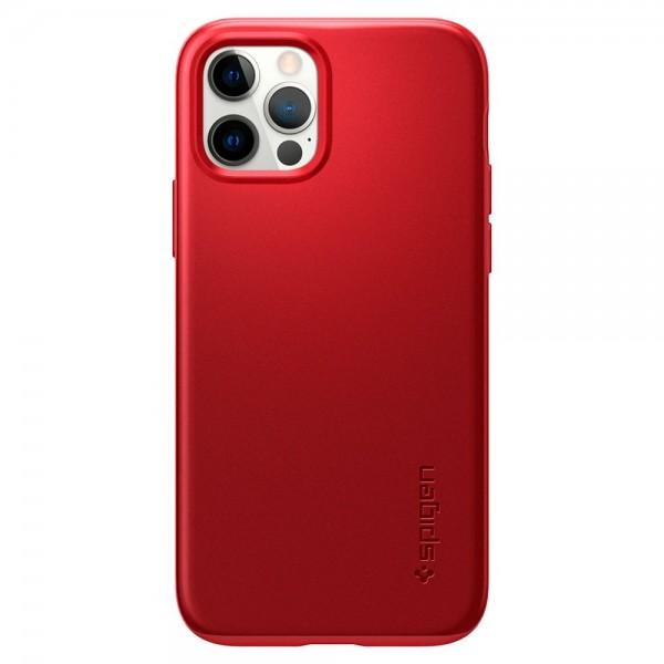 Husa Premium Spigen Thin Fit Pentru iPhone 12 / 12 Pro, Policarbonat, Rosu imagine itelmobile.ro 2021