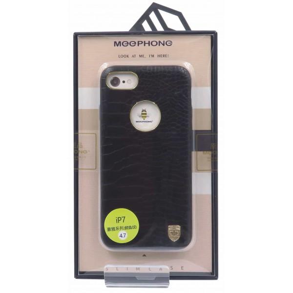 Husa Meephone Piele Croco iPhone 7 Gold Negru imagine itelmobile.ro 2021