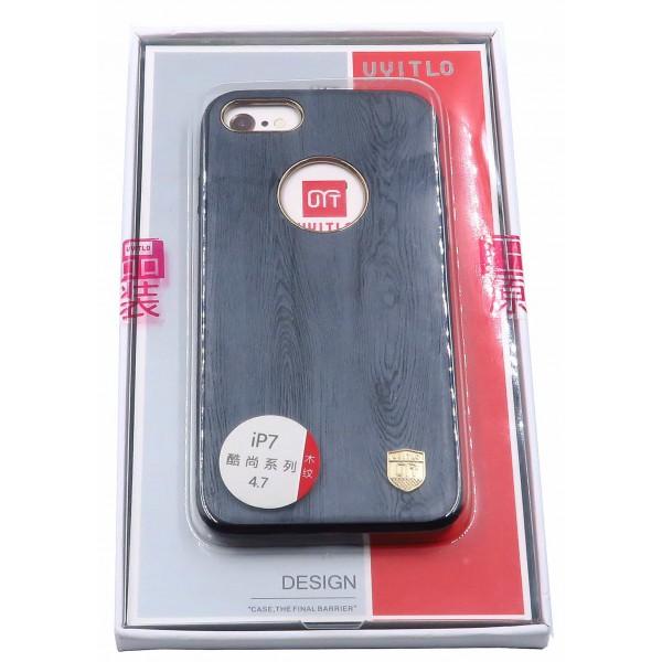 Husa Uyitlo Wood iPhone 7 Gri imagine itelmobile.ro 2021