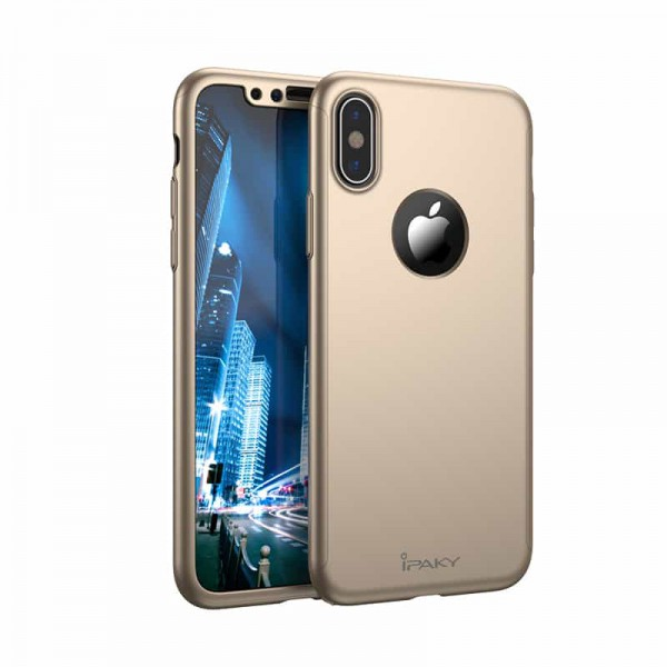 Husa Ipaky 360 Grade Ultra Slim iPhone X Gold Folie Ecran Inclusa imagine itelmobile.ro 2021