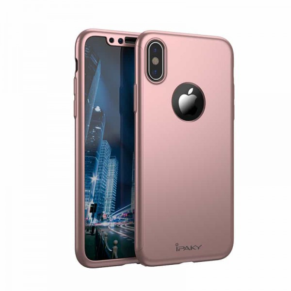 Husa Ipaky 360 Grade Ultra Slim iPhone X Rose Gold Folie Ecran Inclusa imagine itelmobile.ro 2021
