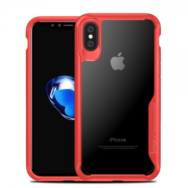 Husa Spate Ipaky Anti-shock iPhone X / iPhone 10 Transparent Rosu imagine itelmobile.ro 2021