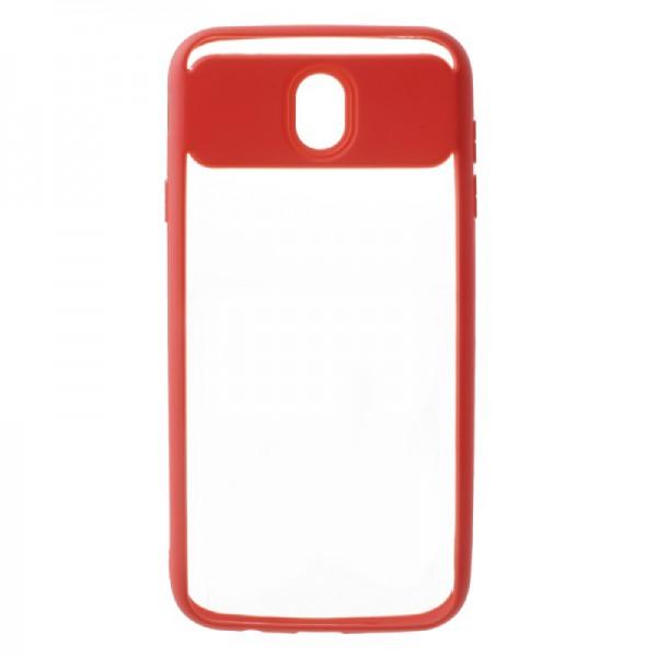 Husa Spate Hibrid Upzz Slim Samsung J5 2017 Plus Rosu Transparent