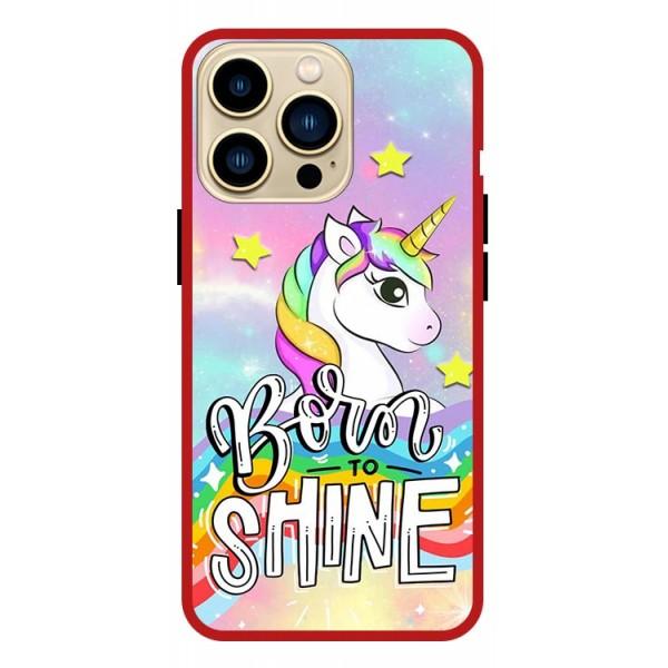 Husa Premium Spate Upzz Pro Anti Shock Compatibila Cu Iphone 13 Pro , Model Born To SHine, Rama Rosie