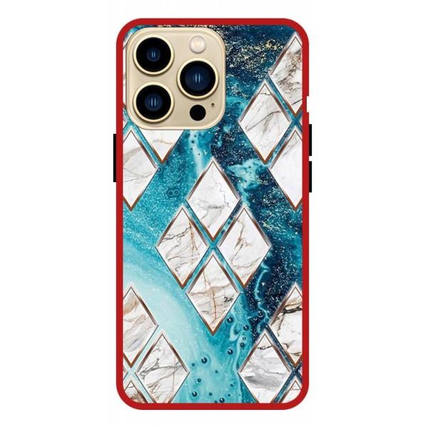 Husa Premium Spate Upzz Pro Anti Shock Compatibila Cu Iphone 13 Pro , Model Marbel 1, Rama Rosie