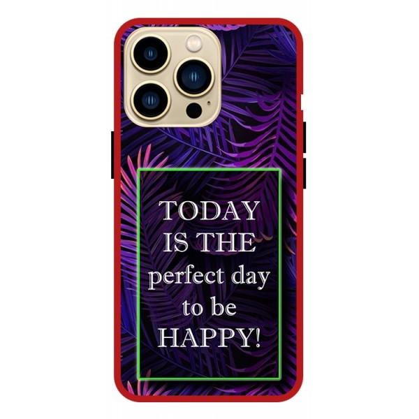 Husa Premium Spate Upzz Pro Anti Shock Compatibila Cu Iphone 13 Pro , Model Perfect Day, Rama Rosie