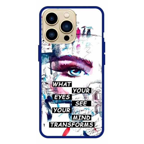 Husa Premium Spate Upzz Pro Anti Shock Compatibila Cu Iphone 13 Pro , Model Your Eyes, Rama Albastra