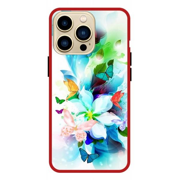 Husa Premium Spate Upzz Pro Anti Shock Compatibila Cu Iphone 13 Pro Max, Model Painted Butterflies, Rama Rosie