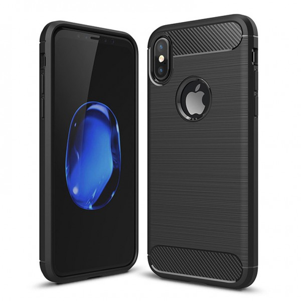 Husa Forcell Carbon Pro iPhone X/xs Negru ,silicon imagine itelmobile.ro 2021